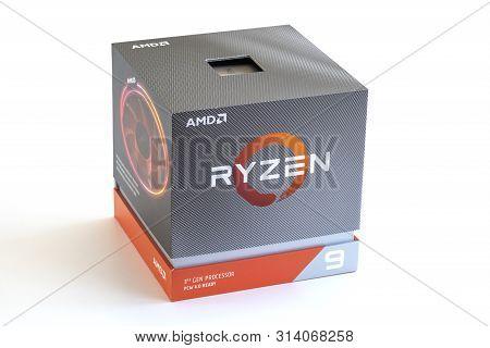 Melbourne, Australia - Jul 29, 2019: Third Generation Ryzen 9 Processor In Packaging Box