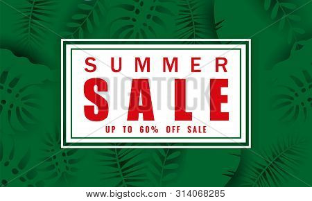 Summer Sale Banner Template For Seasonal Sales With Tropical Leaves Flowers Background, Color Exotic