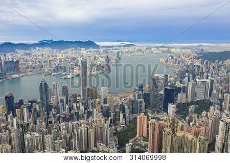 Hong Kong, China - May 28, 2019: Aerial View Of Victoria Harbour In Hong Kong