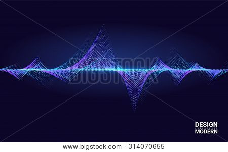 Abstract Colorful Wave Element For Music Design With Equalizer. The Dynamic Line On A Dark Backgroun
