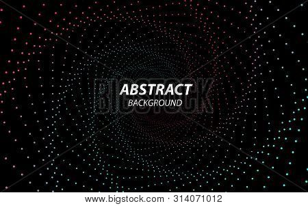 Digital Vector Background. Technology Fractal With Wave Lines And Dots. Futuristic Style. Big Data S