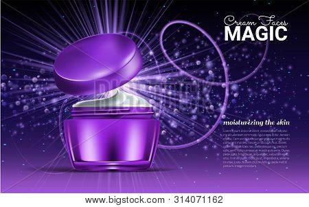 Glass Jar For Design On A Purple Background. Cosmetics For Body Cream. Vector Illustration