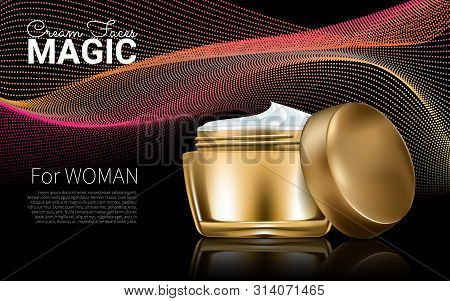 Splendid Cosmetic Product Poster. Golden Bottle Package Design With Moisturizer Cream Or Liquid. Dar
