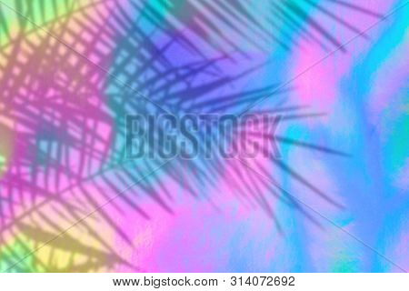 Holographic Background With Palm Leaves Shadows