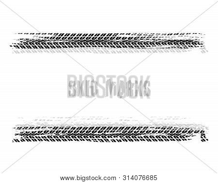Automobile Tire Tracks Vector Illustration. Grunge Automotive Element Useful For Poster, Print, Flye