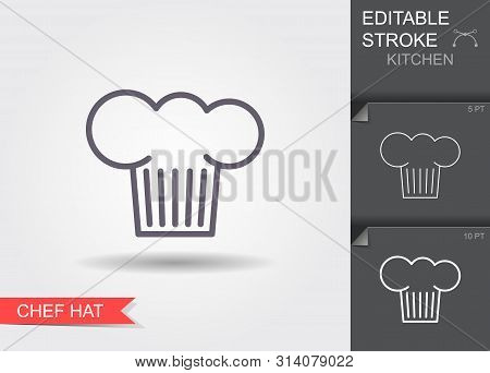 Chef Hat. Line Icon With Editable Stroke With Shadow