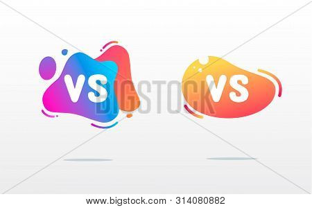 Set Of Versus Logo Vs Letters For Sports And Fight Competition. Flat Simple Design. Mma, Battle, Vs