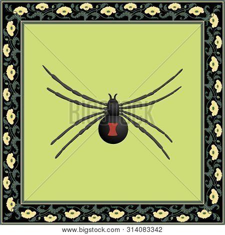 Black Widow Color Illustration In Floral Art Nouveau Frame. Vector.