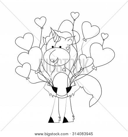 Coloring Book For Kids - Unicorn With Hearts. Black And White Cute Cartoon Unicorns. Vector Illustra