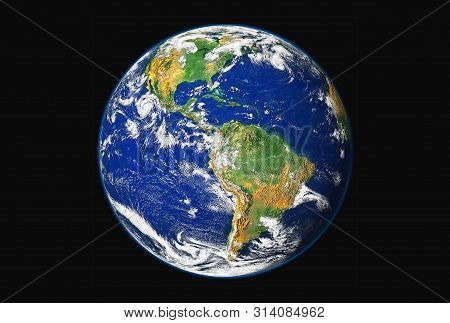 The Mother Earth, From North And South America, Isolated On A Black Background. Elements Of This Ima