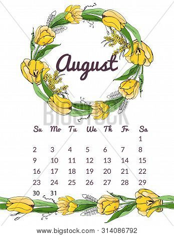 Printable Botanical Calendar 2020 With Wreath And Endless Brush Of Yellow Tulip And Mimosa Flowers A