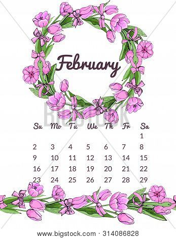 Printable Botanical Calendar 2020 With Wreath And Endless Brush Of Pink Tulip Flowers And Leaves And