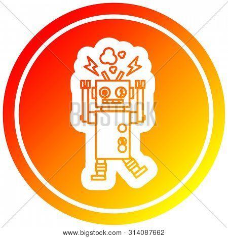 malfunctioning robot circular icon with warm gradient finish