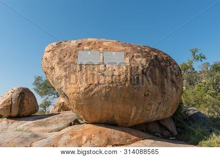 Kruger National Park, South Africa - May 6, 2019: A View Of The Kruger Tablets, Commemorating The Es
