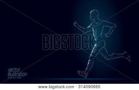 Sportsman Run Exercise Fitness Healthy Lifestyle Concept. Low Poly Man Silhouette Jogging Fit Marath