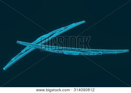 3d Rendering. Windscreen Wiper Blade On A Blue Background. Wiper Blade For Car. Spare Parts, Auto Pa