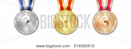 Realistic Vector 3d Gold, Silver And Bronze Award Medal Icon Set With Color Ribbons Isolated On Whit