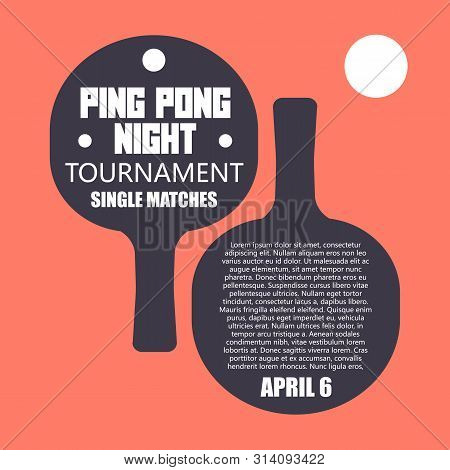 Two Flat Ping Pong Rackets With Ball. Table Tennis Sport Equipment Poster Vector Illustration For Ta
