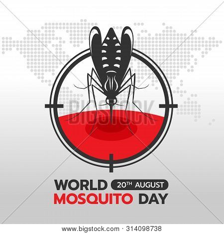 World Mosquito Day Banner With Mosquito Drinking Blood In Circle Focus On Earth World Abstract Dot M