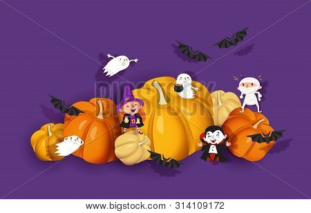 Happy Halloween 3d Design, Paper Cut Witch, Ghoul, Vampire, Bat, Pumpkin, Mummy, Ghost. Purple And O