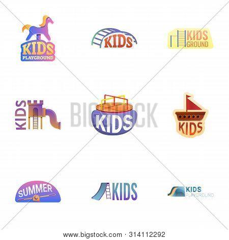 Yard Playground Logo Set. Cartoon Set Of 9 Yard Playground Vector Logo For Web Design Isolated On Wh