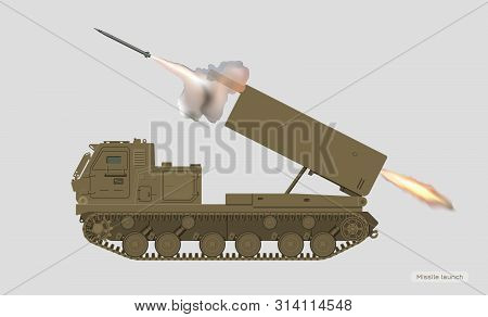 Missile Vehicle In Realistic Style. Rocket Artillery. 3d Image Of Military Tractor With Jet Weapon.