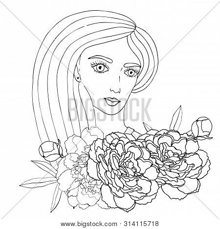 Portrait Of A Beautiful Girl With Flower For Coloring, Covers, Stickers, T-shirts