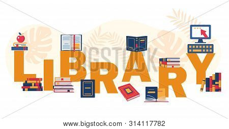 Reading Eductational Festival Or Library Concept. Electronic Library Word Concepts Banner. E-books.