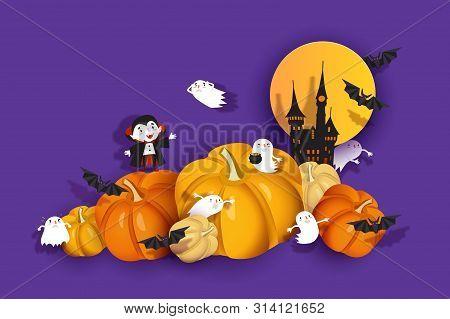 Happy Halloween 3d Design, Papercut Ghoul, Vampire, Bat, Pumpkin, Ghost, Spook, Medieval Castle. Pur