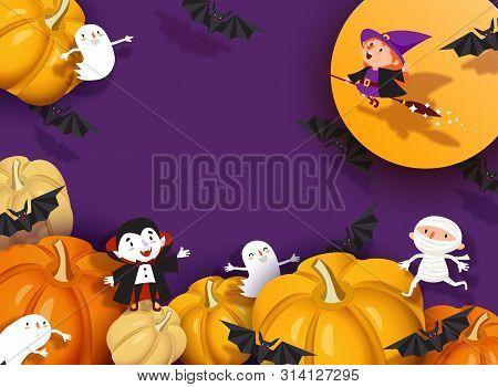Happy Halloween 3d Design, Paper Cut Witch, Ghoul, Vampire, Bat, Pumpkin, Mummy, Ghost, Moon. Purple