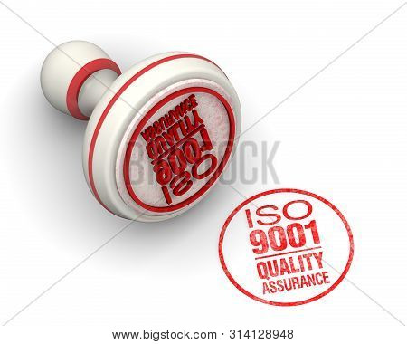 Iso 9001 Quality Assurance. The Round Seal And Imprint. One Red Round Seal And Red Imprint With Text