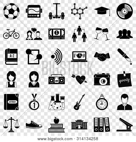 School Book Icons Set. Simple Style Of 36 School Book Vector Icons For Web For Any Design