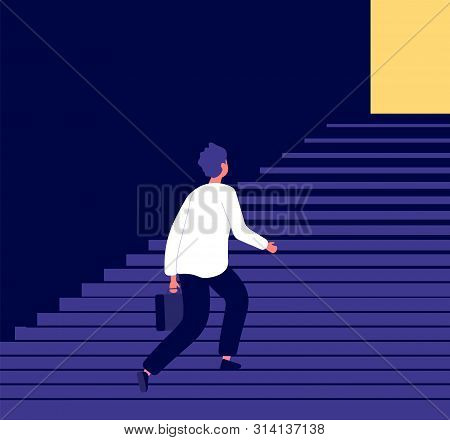 Man Climbing Steps. Success In Businessman Career Growth Personal Development Challenge. Ambitious A