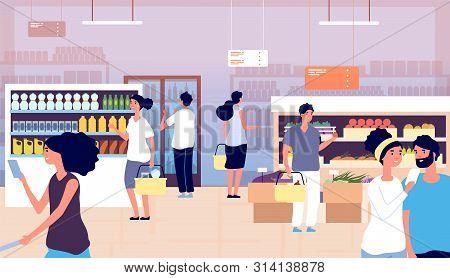 People In Grocery Store. Persons Buy Food, Vegetables In Supermarket. Shopping Customers Choosing Pr