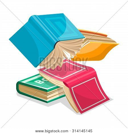 Blue, Pink, Green, Yellow Thick Books Falling Down Or Flying. Unnecessary Stuff In Heap Concept. Rev