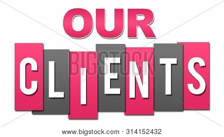 Our Clients Text Written Over Pink Grey Background.