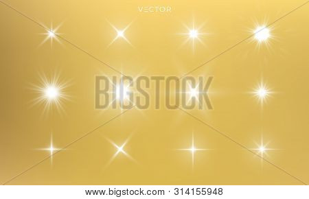 Star Shine, Golden Light Glow Sparks, Vector Bright Gold Sparkles With Lens Flare Effect. Isolated S