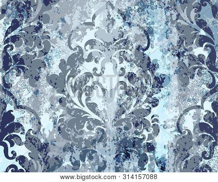 Vintage Blue Ornament Pattern Vector. Baroque Rococo Texture Luxury Design. Royal Textile Decors. Ol