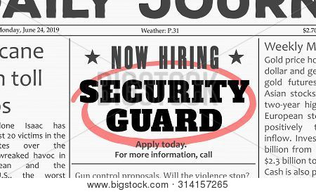 Security Guard Job Offer. Newspaper Classified Ad Career Opportunity.