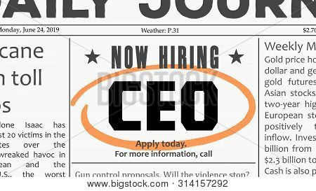 Ceo Recruitment - Managerial Job Offer. Newspaper Classified Ad Career Opportunity.