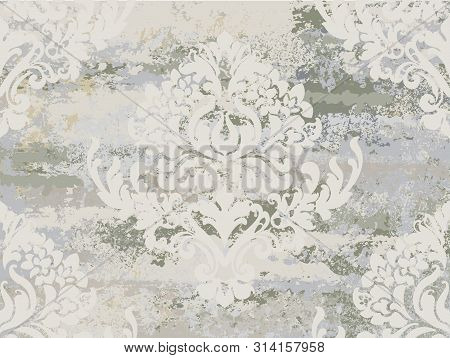 Vintage Ornament Pattern Vector. Baroque Rococo Texture Luxury Design. Royal Textile Decors. Old Pai