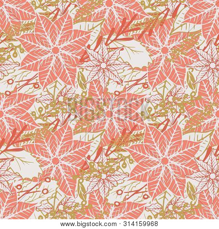 Poinsettia And Holly Berry Branches Seamless Pattern Background Design. Coral And Gold Festive Chris