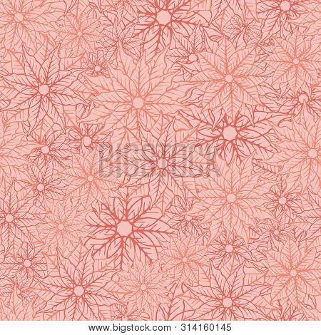 Poinsettia Seamless Texture Pattern Background Design. Holiday Season Pattern Print. Vector