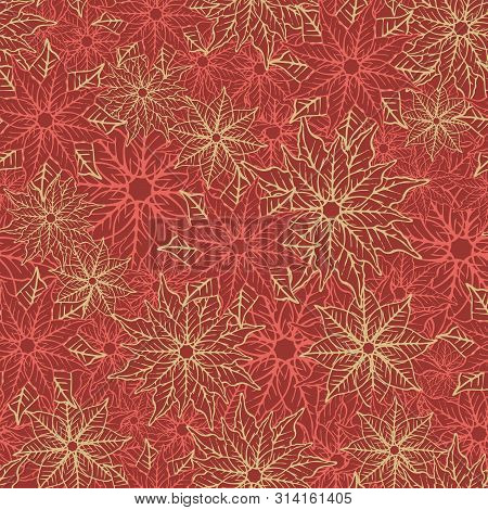 Poinsettia Seamless Pattern Background Design. Red And Gold Festive Holiday Season Pattern Print. Ve