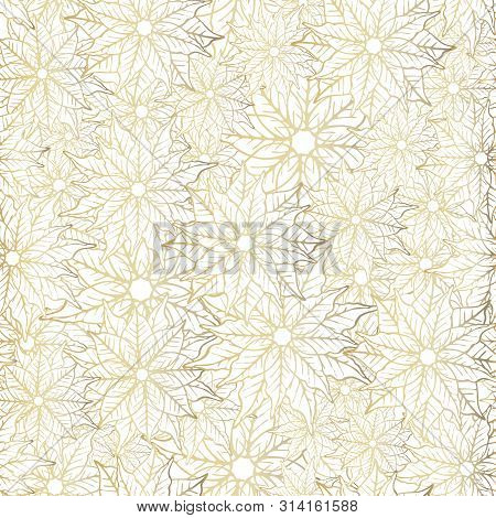 Poinsettia Seamless Pattern Background Design. White And Gold Festive Holiday Season Pattern Print.