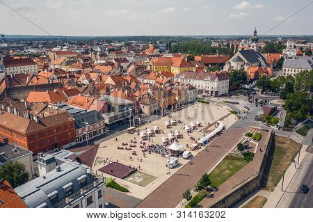Aerial View Of Gyor, Small And Beautiful Town In Hungary