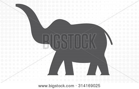 Elephant With Side View For Your Design. Vector Illustration.
