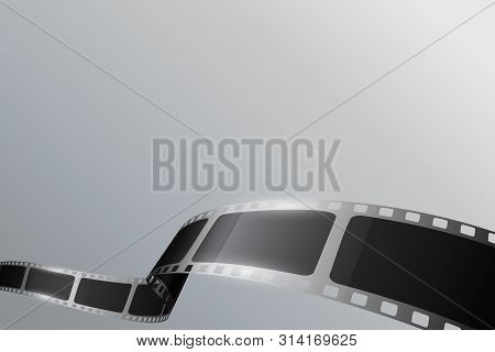 Black Cinema Film Strip With Different Shape Effect And Empty Space For Your Text. Movie Film Reel O