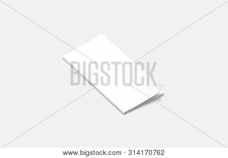 Blank White Closed Rectangular Magazine Mock Up, Side View, 3d Rendering. Emtpy Narrow Dl Paperback