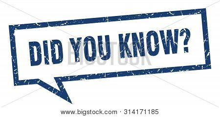 Did You Know Sign. Did You Know Square Speech Bubble. Did You Know